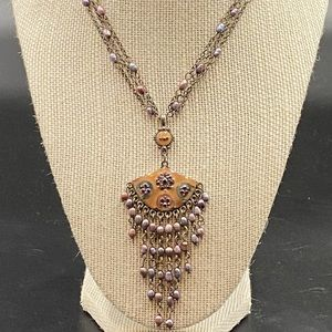 Beautiful Enameled Necklace with Seed Pearl Chain